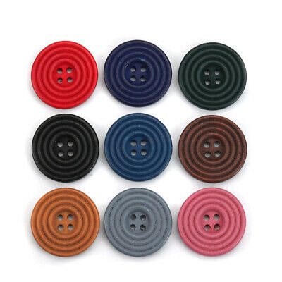 30Pcs 25mm Solid Colors Round Circles Wooden Sewing Buttons 10 Colors for Pick