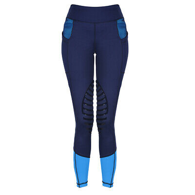 HR Farm Women's Silicone Tights Horse Riding Gel Grip Pull On Leggings with Pock