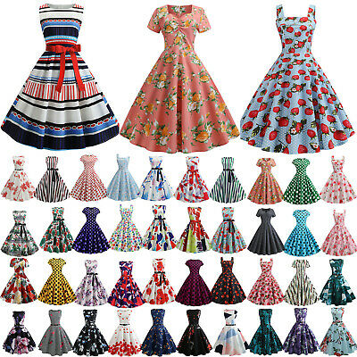 Womens 1950s 60s Vintage Rockabilly Evening Prom Party Summer Skater Swing Dress