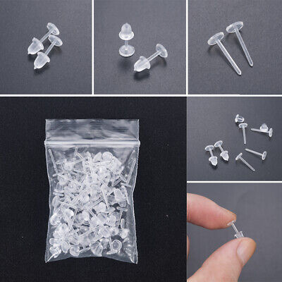 50pcs Clear Plastic Stem Rubber Anti-Allergy Ear Stud Replacement Earring DIY