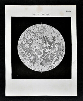 1872 Muller Astronomy Map of Full Moon Lunar Surface Craters Original Antique