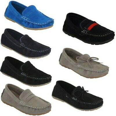 Boys Moccasins Kids Boat Deck Suede Look Shoes Driving Slip On Loafers Ribbon