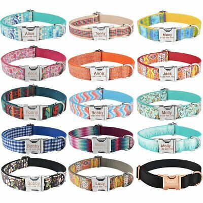 Nylon Personalised Small Large Dog Collar Pet Name ID Custom Engraved Heavy Duty