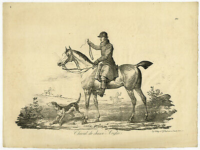 Antique Master Print-ENGLISH HORSE-HUNTING-DOGS-Carle Vernet-ca. 1820