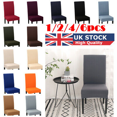 UK 6PCS Dining Chair Covers Elastic Spandex Solid Slip Cover Wedding Banquet New