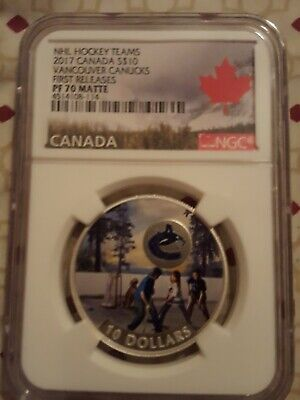 2017 $10 Vancouver Canucks First Releases NGC PF 70 Matte Canada Silver Coin