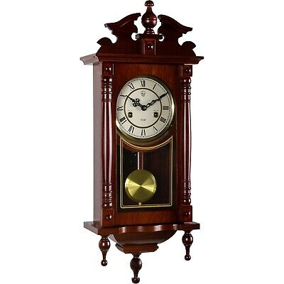 Wall Clock Pendulum Regulator Antique Mechanical Mahogany Wood Watch Orpheus