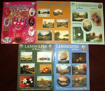 5 Decorative Painting Instruct Pattern BOOKS Norma Poulos Landscapes Fabric EUC