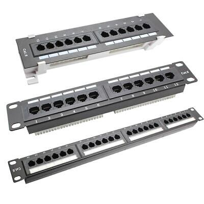 12/24 Port CAT6 Patch Panel Networking Wall Mount Rack Mounted Bracket Chassis