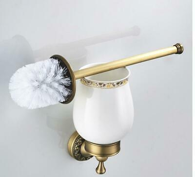 Luxury Antique Brush Brass Bathroom Wall Mounted Toilet Ceramic Cup Holder