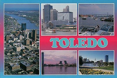 Views of Toledo Ohio, Downtown, Maumee River, Waterfront, Ship, Boats - Postcard