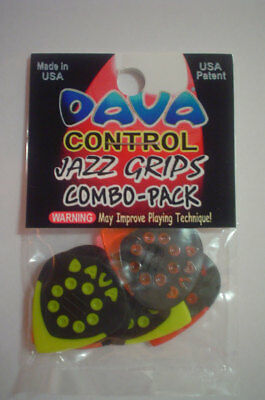 "6 Dava Control /""Jazz Grips/"" Delrin Picks Plektren rot Hang Bag"