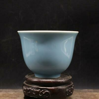 Chinese ancient antique hand make Monochromatic glazed tea cup a7