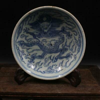 Chinese ancient antique hand make Blue and white Dragon pattern  small plate a12