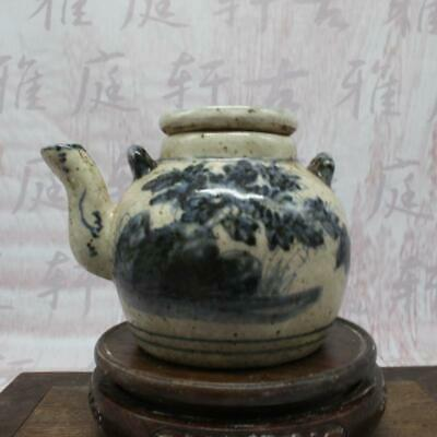 Chinese ancient antique hand make Blue and White flowers and plants Teapot a14