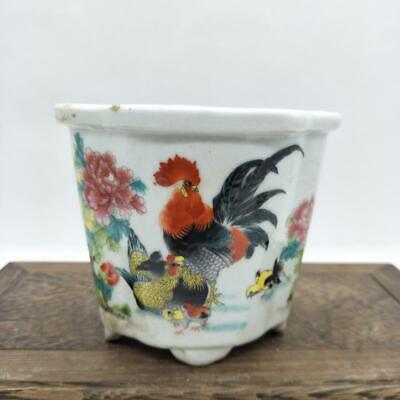 Chinese ancient antique hand make peony Golden chicken pattern Flowerpot a29