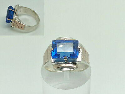 Antique Art Deco Sterling Silver & Rose Gold Blue Paste Cocktail Ring Size P 1/2