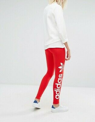 Adidas Originals Linear Womens Iconic Gym All Sports Leggings Red