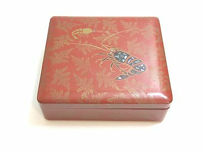 Vintage Or Antique Chinese Lacquer Ware Box With Lobster Design On Top