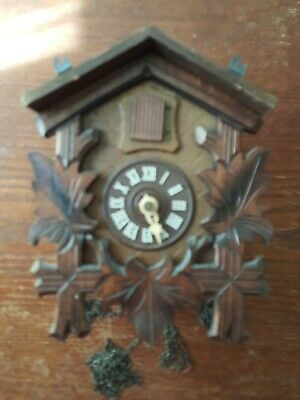 """VINTAGE WOODEN CUCKOO CLOCK MADE IN GERMANY WITH BIRD 7"""" x 6"""" Needs work"""