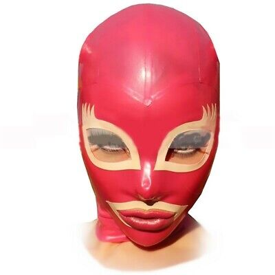 Latex Hoods Rubber Gummi Mask Red Charming Smile Wet Look Masks Customized 0.4mm
