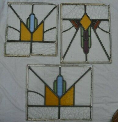 3 art deco leaded light stained glass window panels for restoration. B861a