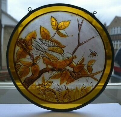 Victorian/Edwardian painted stained glass leaded light roundel bird. S996