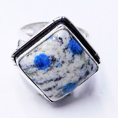 K2 Blue azurite 925 Sterling Silver Plated Handmade Jewellery Ring UK Size-L 1/2