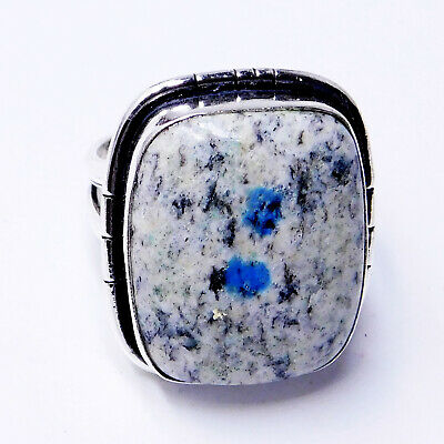 K2 Blue Azurite 925 Sterling Silver Plated Handmade Jewellery Ring UK Size-O