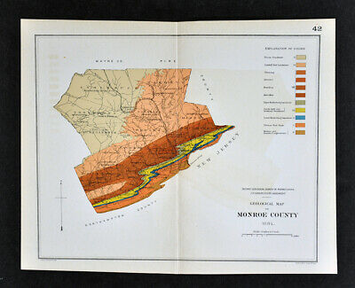 1884 Geological Map - Monroe County Pennsylvania - by Lesley Geology Survey PA