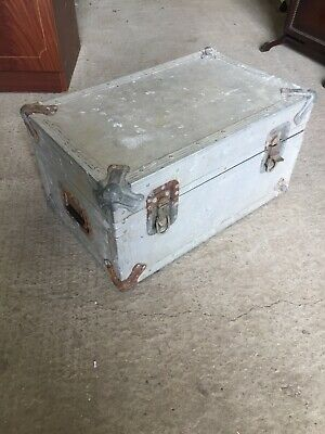 Old Vintage Metal Aluminium? Travelling Trunk 23/6/K