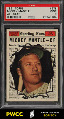 1961 Topps Mickey Mantle ALL-STAR #578 PSA 9 MINT (PWCC-A)