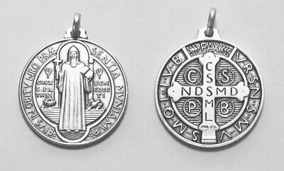 St. Benedict Medal Sterling Silver (925) - 30mm - Italy