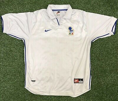 Italy Italia World Cup France 1998 Away White Football Shirt Nike Size Large L