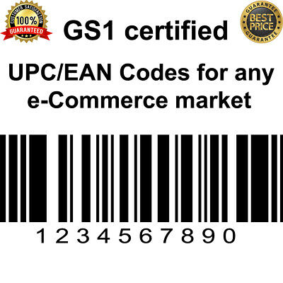 1000 UPC Numbers Barcodes Bar Code Gs1 EAN Amazon Certified Lifetime Guarantee