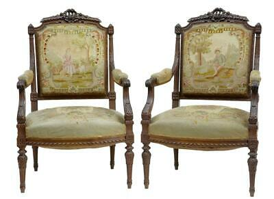 19Th Century French Carved Walnut Tapestry Armchairs