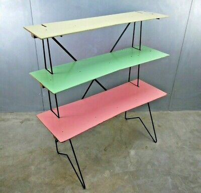 Mid Century METAL Pilastro MATEGOT Tomado PINK Mod WIRE Book SHELF Hairpin Stand