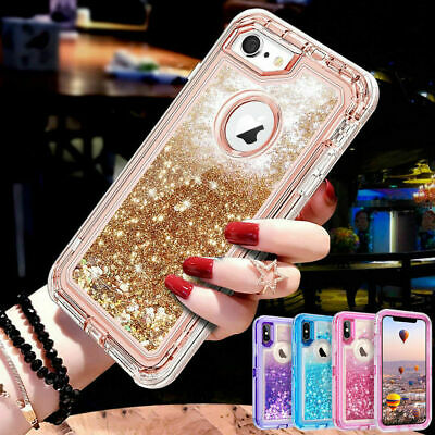 360° Liquid Glitter Bling Heavy Duty Case Cover For iPhone XS Max XR XS 7 8 Plus
