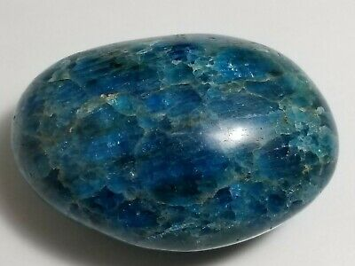 160g  Blue Apatite Crystal Polished Chakra Palm Stone, Madagascar