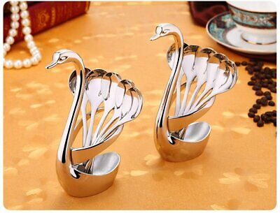 2PCS Creative Stainless Steel Coffee Tea Dessert Cake Spoon Set Swan Base Holder