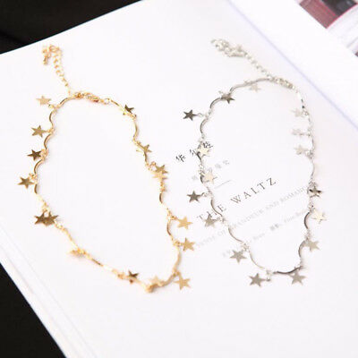 Lady Woman Silver Gold Plated Star Necklace Choker Collar Chain Jewelry Popular