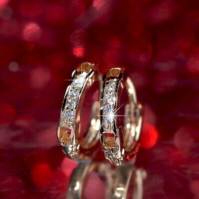 18k yellow gold huggies made with Swarovski crystal earrings classic VERY SMALL