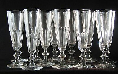 12 antique 19th C. Flutes, Champagne Glasses, fully handmade ca. 1850