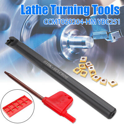 S10K-SCLCR06 Turning Tool Holder Lathe Boring Bar With 10X CCMT060204-HM Inserts