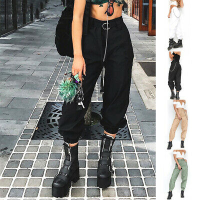 Women Harem Pants High Waist Jogger Chain Long Trousers Fashion Cargo Pockets
