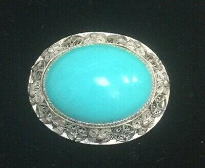 Vintage Chinese fine turquoise sterling silver filigree pin