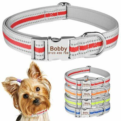 Reflective Nylon Personalised Dog Collar Soft Padded Pet Name ID Custom Engraved