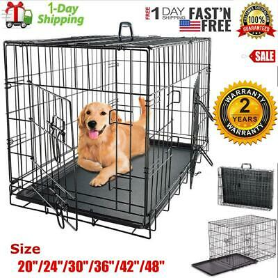 """Folding Pet Cage Metal 2 Doors Extra Large Dog Crate Kennel 48""""/42""""/36""""/30""""/24"""""""