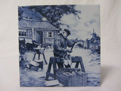 Royal Holland Mosa Windmill Delft Blue Tile Trivet Shoemaker 6 Inch By 6 Inch
