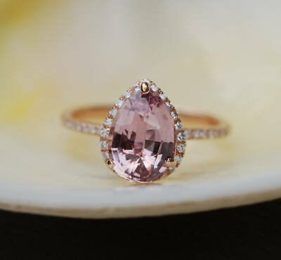 2.50Ct Pear Attractive Cut Morganite Halo Engagement Ring 14K Rose Gold Finish